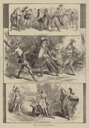 Scenes from the Pantomimes. Illustration for The Illustrated Sporting and Dramatic News, 1 January 1881.