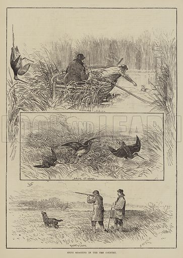 Snipe Shooting in the Fen Country. Illustration for The Illustrated Sporting and Dramatic News, 1 January 1881.