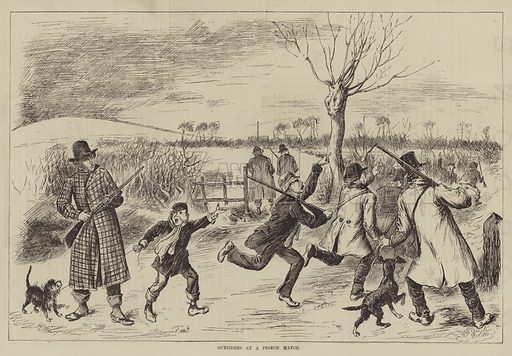 Outsiders at a Pigeon Match. Illustration for The Illustrated Sporting and Dramatic News, 1 January 1881.