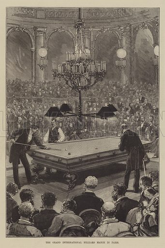 The Grand International Billiard Match in Paris. Illustration for The Illustrated Sporting and Dramatic News, 8 January 1881.