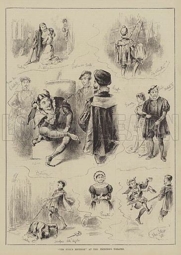 """""""The Fool's Revenge"""" at the Princess's Theatre. Illustration for The Illustrated Sporting and Dramatic News, 8 January 1881."""