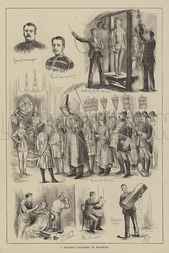A Soldier's Pantomime at Woolwich. Illustration for The Illustrated Sporting and Dramatic News, 15 January 1881.
