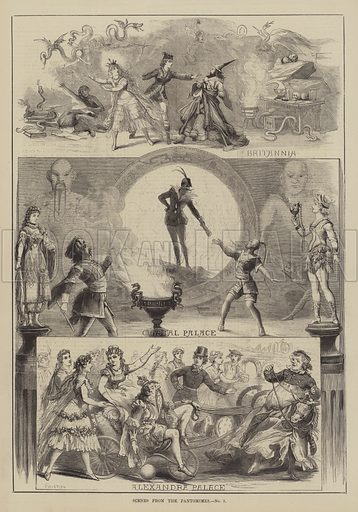 Scenes from the Pantomimes. Illustration for The Illustrated Sporting and Dramatic News, 15 January 1881.