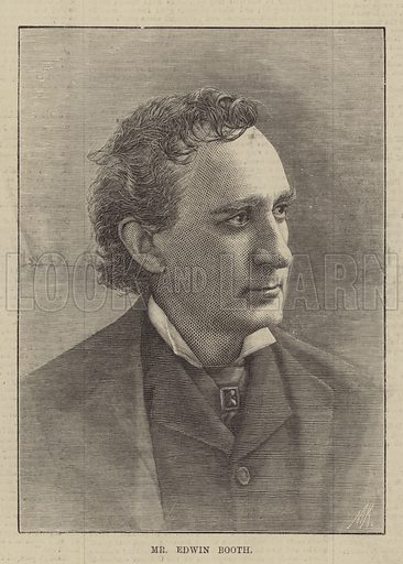 Mr Edwin Booth. Illustration for The Illustrated Sporting and Dramatic News, 15 January 1881.