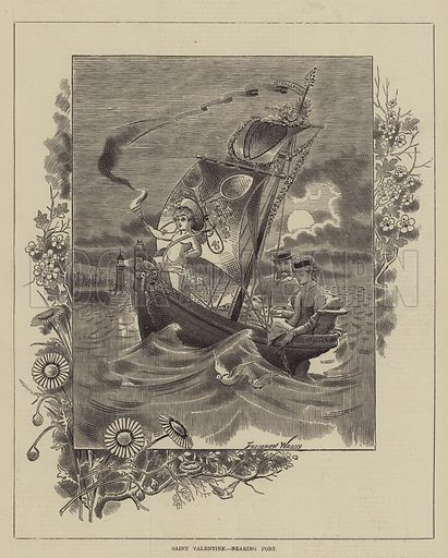 Saint Valentine, nearing Port. Illustration for The Illustrated Sporting and Dramatic News, 12 February 1881.