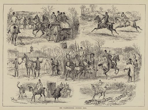 The Warwickshire Hunting Song. Illustration for The Illustrated Sporting and Dramatic News, 12 February 1881.