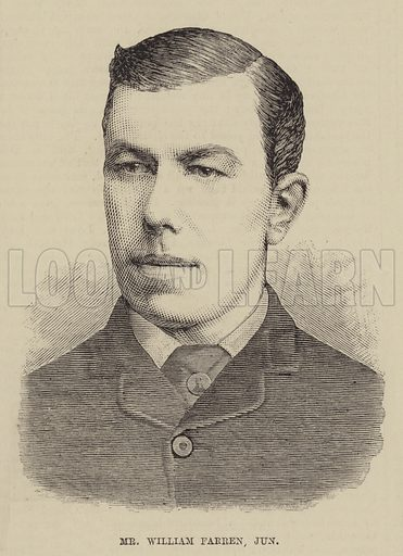 Mr William Farren, Junior. Illustration for The Illustrated Sporting and Dramatic News, 26 February 1881.