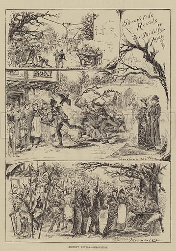 Ancient Revels, Shrovetide. Illustration for The Illustrated Sporting and Dramatic News, 5 March 1881.
