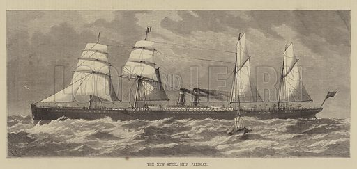 The New Steel Ship Parisian. Illustration for The Illustrated Sporting and Dramatic News, 12 March 1881.