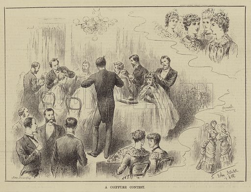 A Coiffure Contest. Illustration for The Illustrated Sporting and Dramatic News, 31 May 1884.