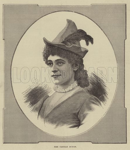Miss Camille Dubois. Illustration for The Illustrated Sporting and Dramatic News, 7 June 1884.