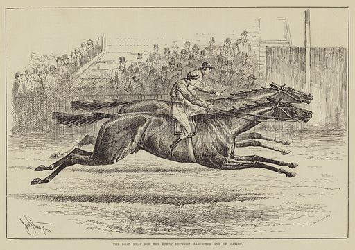 The Dead Heat for the Derby between Harvester and St Gatien. Illustration for The Illustrated Sporting and Dramatic News, 7 June 1884.