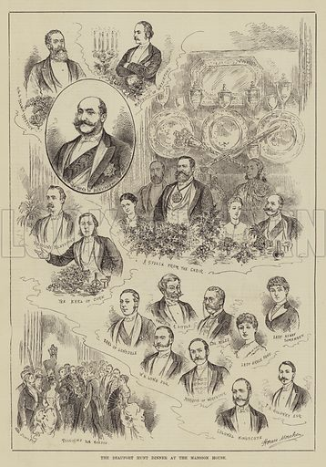 The Beaufort Hunt Dinner at the Mansion House. Illustration for The Illustrated Sporting and Dramatic News, 14 June 1884.