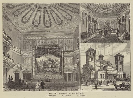 The New Theatre at Eastbourne. Illustration for The Illustrated Sporting and Dramatic News, 21 June 1884.
