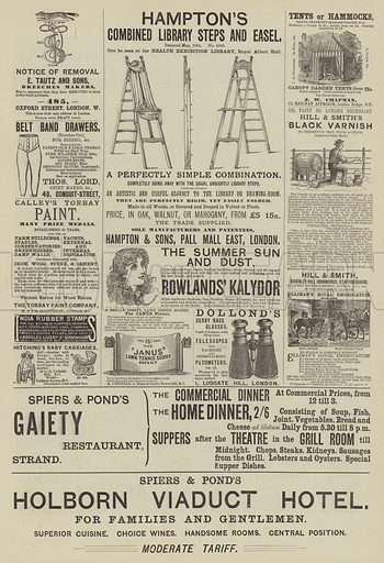 Page of Advertisements. Illustration for The Illustrated Sporting and Dramatic News, 28 June 1884.