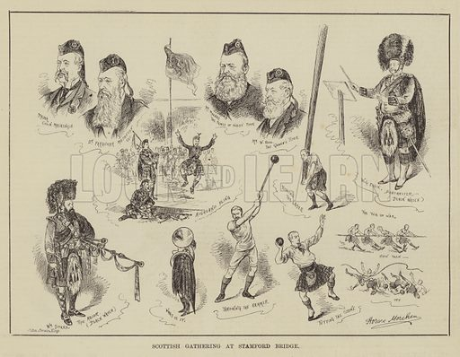 Scottish Gathering at Stamford Bridge. Illustration for The Illustrated Sporting and Dramatic News, 28 June 1884.