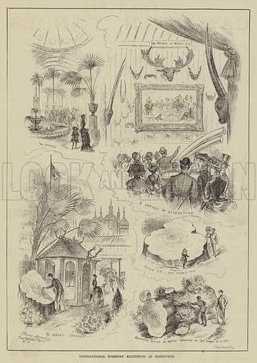 International Forestry Exhibition at Edinburgh. Illustration for The Illustrated Sporting and Dramatic News, 12 July 1884.
