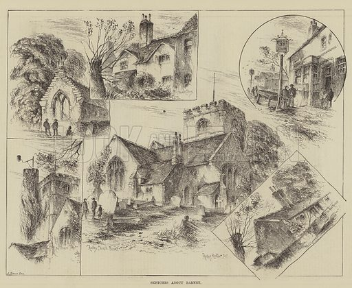 Sketches about Barnet. Illustration for The Illustrated Sporting and Dramatic News, 19 July 1884.