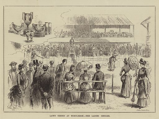 Lawn Tennis at Wimbledon, the Ladies' Singles. Illustration for The Illustrated Sporting and Dramatic News, 26 July 1884.