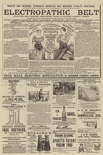 Page of Advertisements. Illustration for The Illustrated Sporting and Dramatic News, 26 July 1884.