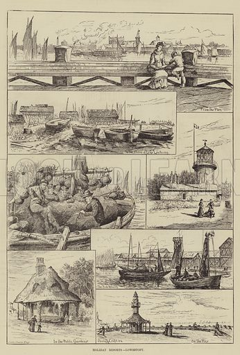 Holiday Resorts, Lowestoft. Illustration for The Illustrated Sporting and Dramatic News, 2 August 1884.