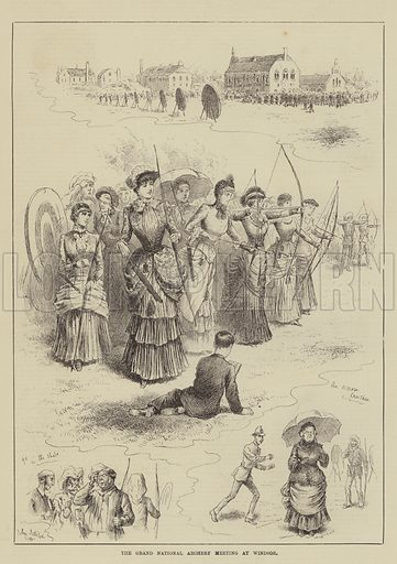The Grand National Archery Meeting at Windsor. Illustration for The Illustrated Sporting and Dramatic News, 16 August 1884.