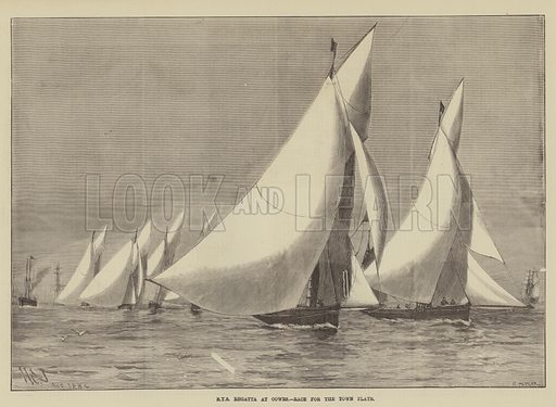 Royal Yacht Squadron Regatta at Cowes, Race for the Town Plate. Illustration for The Illustrated Sporting and Dramatic News, 16 August 1884.