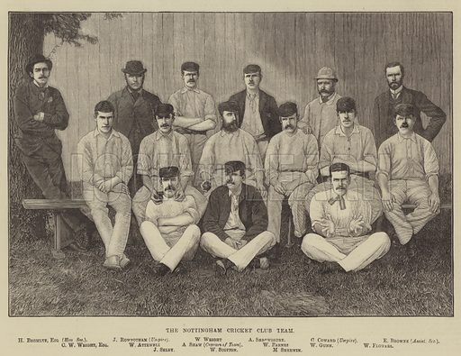 The Nottingham Cricket Club Team. Illustration for The Illustrated Sporting and Dramatic News, 6 September 1884.
