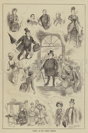 """""""Twins,"""" at the Olympic Theatre. Illustration for The Illustrated Sporting and Dramatic News, 6 September 1884."""