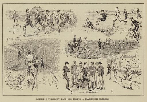 Cambridge University Hare and Hounds v Blackheath Harriers. Illustration for The Illustrated Sporting and Dramatic News, 29 March 1884.
