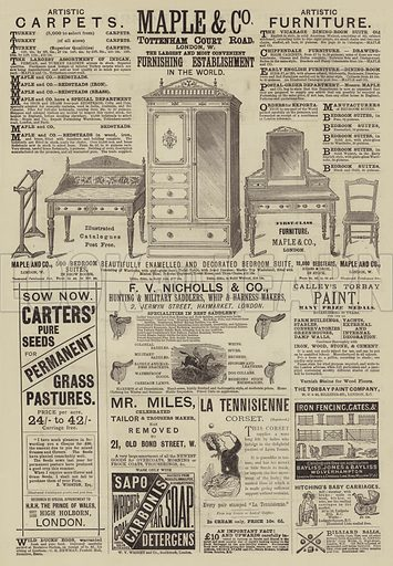 Page of Advertisements. Illustration for The Illustrated Sporting and Dramatic News, 5 April 1884.