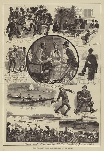 The University Boat Race, Sketches by the River. Illustration for The Illustrated Sporting and Dramatic News, 12 April 1884.