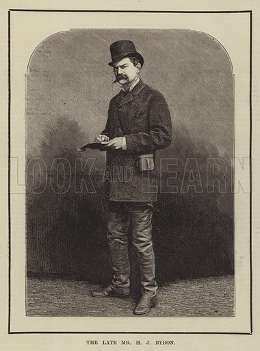 The late Mr HJ Byron. Illustration for The Illustrated Sporting and Dramatic News, 19 April 1884.