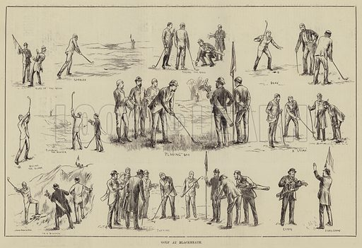 Golf at Blackheath. Illustration for The Illustrated Sporting and Dramatic News, 19 April 1884.