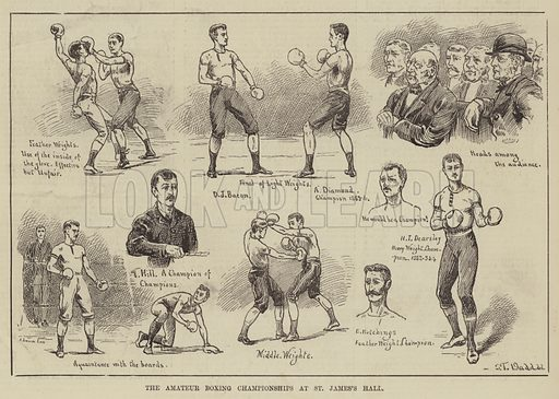 The Amateur Boxing Championships at St James's Hall. Illustration for The Illustrated Sporting and Dramatic News, 19 April 1884.