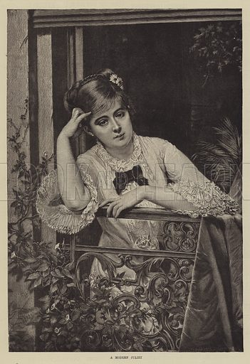 A Modern Juliet. Illustration for The Illustrated Sporting and Dramatic News, 26 April 1884.