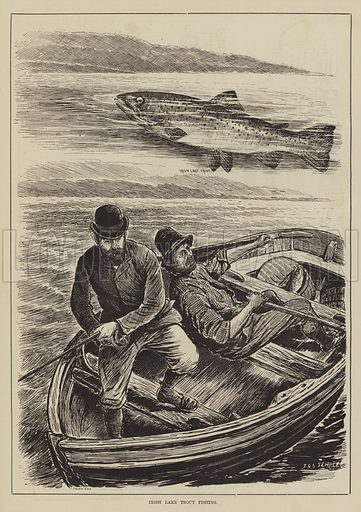 Irish Lake Trout Fishing. Illustration for The Illustrated Sporting and Dramatic News, 3 May 1884.