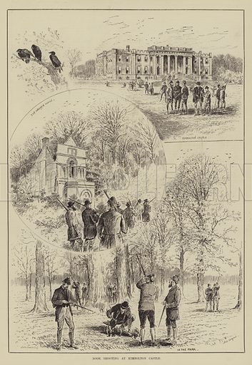 Rook Shooting at Kimbolton Castle. Illustration for The Illustrated Sporting and Dramatic News, 10 May 1884.