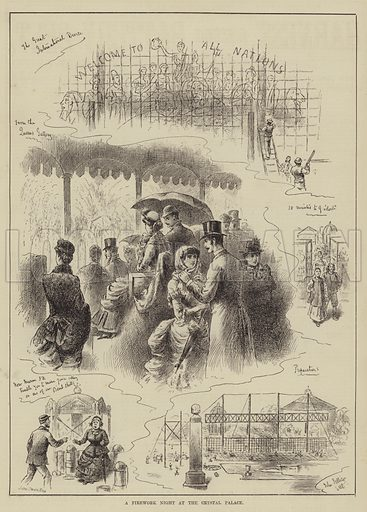 A Firework Night at the Crystal Palace. Illustration for The Illustrated Sporting and Dramatic News, 24 May 1884.