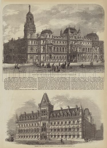The Proposed New Public Offices. Illustration for The Illustrated Times, 12 December 1857.