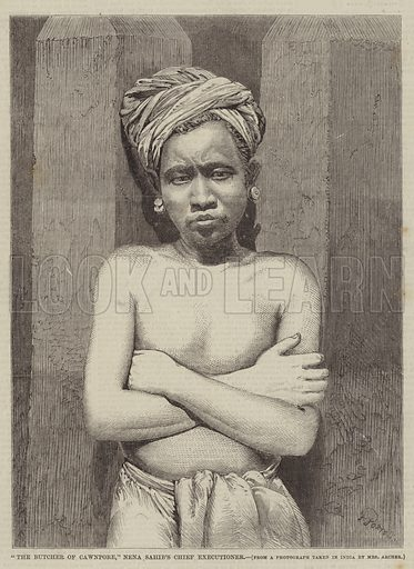 """""""The Butcher of Cawnpore,"""" Nena Sahib's Chief Executioner. Illustration for The Illustrated Times, 2 January 1858."""
