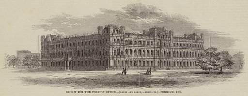 Design for the Foreign Office, Banks and Barry, Architects, Premium, £500. Illustration for The Illustrated Times, 2 January 1858.