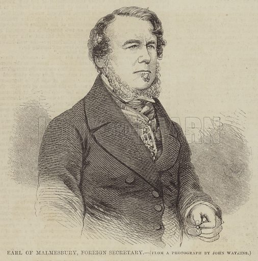 Earl of Malmesbury, Foreign Secretary. Illustration for The Illustrated Times, 6 March 1858.