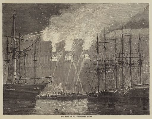 The Fire at St Katherine's Docks. Illustration for The Illustrated Times, 8 May 1858.