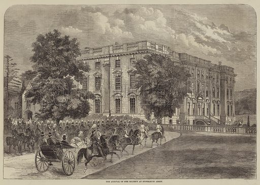 The Arrival of Her Majesty at Stoneleigh Abbey. Illustration for The Illustrated Times, 19 June 1858.