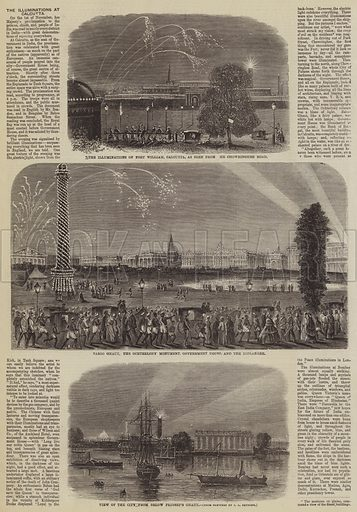 The Illuminations at Calcutta. Illustration for The Illustrated Times, 22 January 1859.