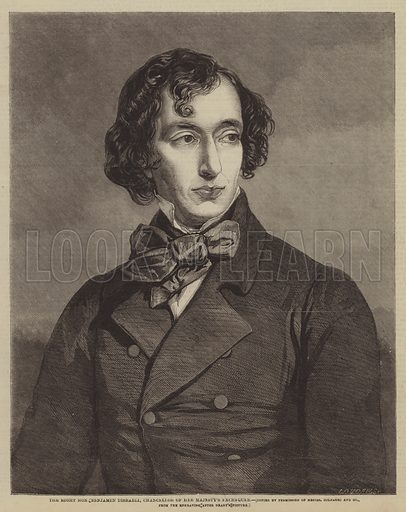 The Right Honourable Benjamin Disraeli, Chancellor of Her Majesty's Exchequer. Illustration for The Illustrated Times, 2 April 1859.
