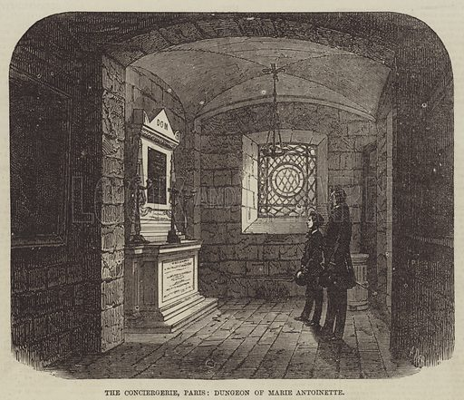 The Conciergerie, Paris, Dungeon of Marie Antoinette. Illustration for The Illustrated Times, 22 January 1870.