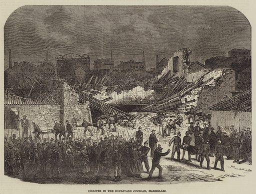 Disaster in the Boulevard Jourdan, Marseilles. Illustration for The Illustrated Times, 26 February 1870.