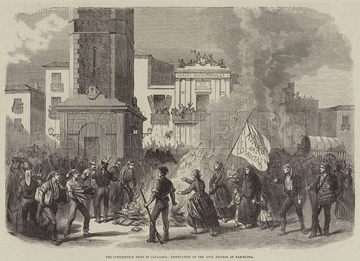 The Conscription Riots in Catalonia, Destruction of the Civil Records at Barcelona. Illustration for The Illustrated Times, 30 April 1870.